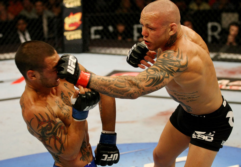 ATLANTIC CITY, NJ - JUNE 22: Ross Pearson (R) punches Cub Swanson (L) in a featherweight bout during UFC on FX 4 at Revel Casino on June 22, 2012 in Atlantic City, New Jersey.  (Photo by Nick Laham/Zuffa LLC/Zuffa LLC)