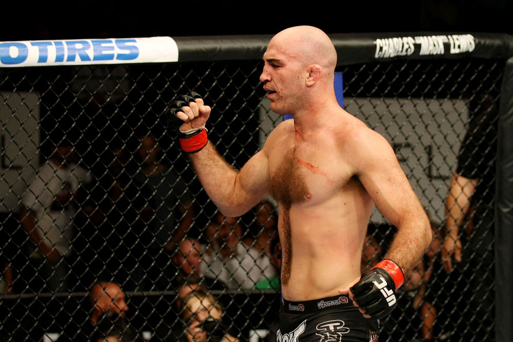 ATLANTIC CITY, NJ - JUNE 22: Brian Ebersole celebrates in a welterweight bout against T.J. Waldburger (not pictured) during UFC on FX 4 at Revel Casino on June 22, 2012 in Atlantic City, New Jersey.  (Photo by Nick Laham/Zuffa LLC/Zuffa LLC)
