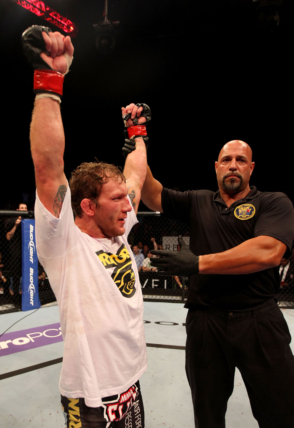 ATLANTIC CITY, NJ - JUNE 22:  Gray Maynard (L) celebrates his win by split decision over Clay Guida (not pictured) in the main event lightweight bout during UFC on FX 4 at Revel Casino on June 22, 2012 in Atlantic City, New Jersey.  (Photo by Nick Laham/Zuffa LLC/Zuffa LLC)