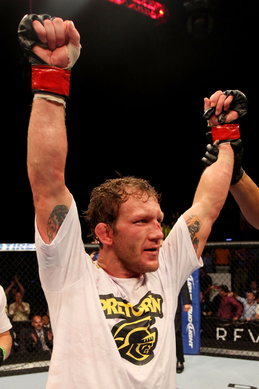 ATLANTIC CITY, NJ - JUNE 22:  Gray Maynard celebrates his win by split decision over Clay Guida (not pictured) in the main event lightweight bout during UFC on FX 4 at Revel Casino on June 22, 2012 in Atlantic City, New Jersey.  (Photo by Nick Laham/Zuffa LLC/Zuffa LLC)