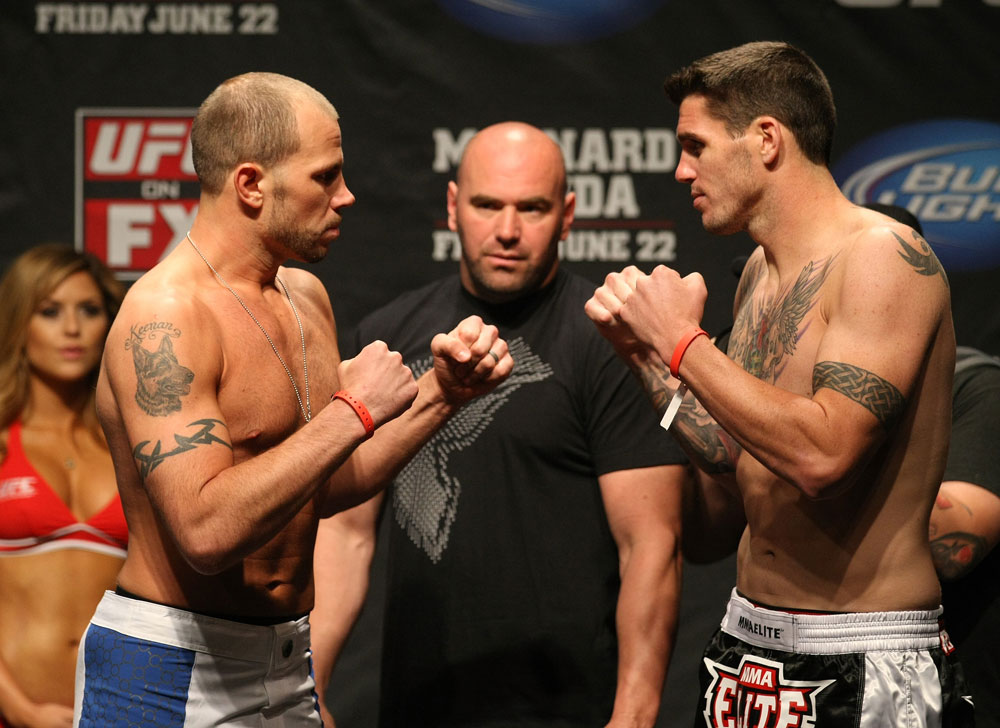 ATLANTIC CITY, NJ - JUNE 21: Middleweight opponents Nick Catone  and Chris Camozzi face off after making weight during the UFC on FX official weigh in at Revel Casino on June 21, 2012 in Atlantic City, New Jersey.  (Photo by Nick Laham/Zuffa LLC/Zuffa LLC via Getty Images)