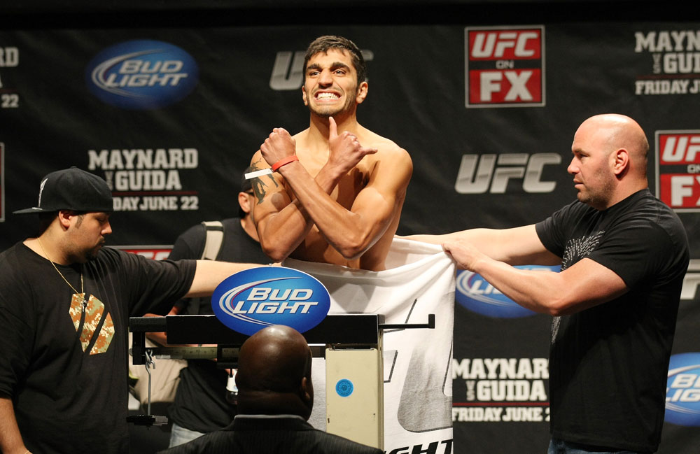 ATLANTIC CITY, NJ - JUNE 21:  Ramsey Nijem flexes after making weight during the UFC on FX official weigh in at Revel Casino on June 21, 2012 in Atlantic City, New Jersey.  (Photo by Nick Laham/Zuffa LLC/Zuffa LLC via Getty Images)