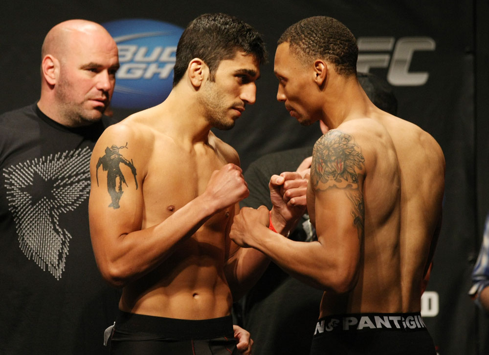 ATLANTIC CITY, NJ - JUNE 21: (L-R) Lightweight opponents Ramsey Nijem and C.J. Keith face off during the UFC on FX official weigh in at Revel Casino on June 21, 2012 in Atlantic City, New Jersey.  (Photo by Nick Laham/Zuffa LLC/Zuffa LLC via Getty Images)
