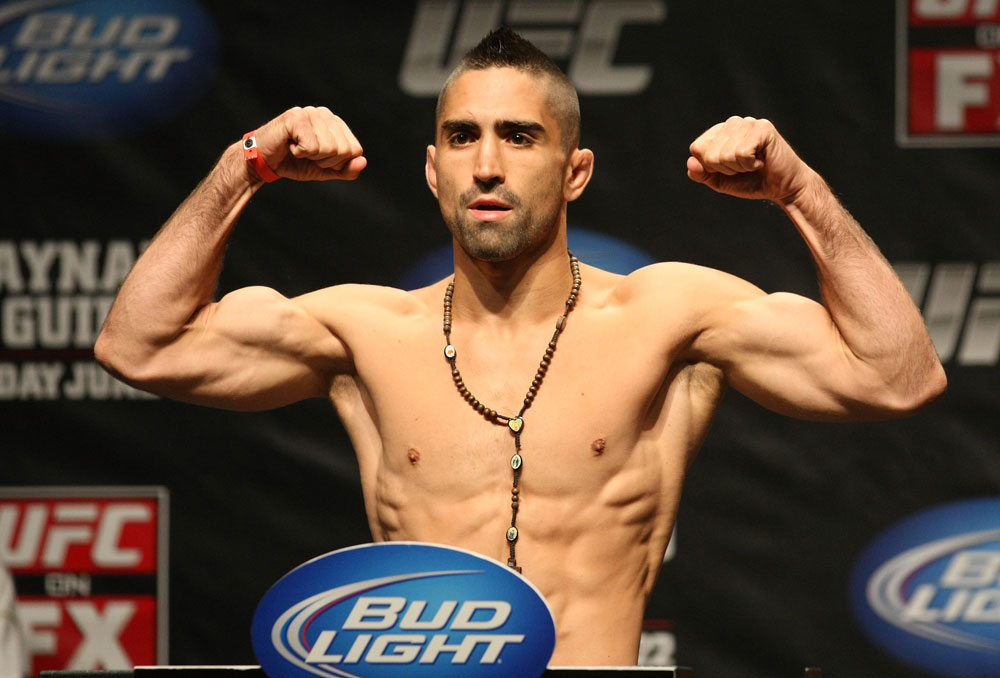 ATLANTIC CITY, NJ - JUNE 21: Ricardo Lamas flexes after making weight during the UFC on FX official weigh in at Revel Casino on June 21, 2012 in Atlantic City, New Jersey.  (Photo by Nick Laham/Zuffa LLC/Zuffa LLC via Getty Images)