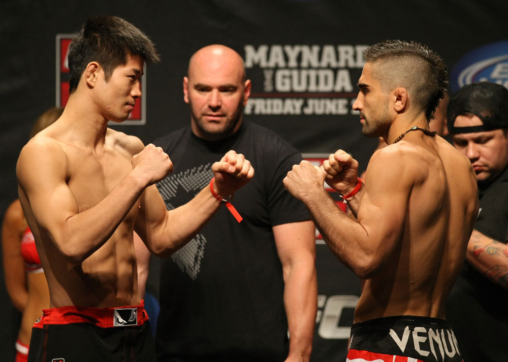 ATLANTIC CITY, NJ - JUNE 21: (L-R) Featherweight opponents Hatsu Hioki and Ricardo Lamas face off after making weight during the UFC on FX official weigh in at Revel Casino on June 21, 2012 in Atlantic City, New Jersey.  (Photo by Nick Laham/Zuffa LLC/Zuffa LLC via Getty Images)