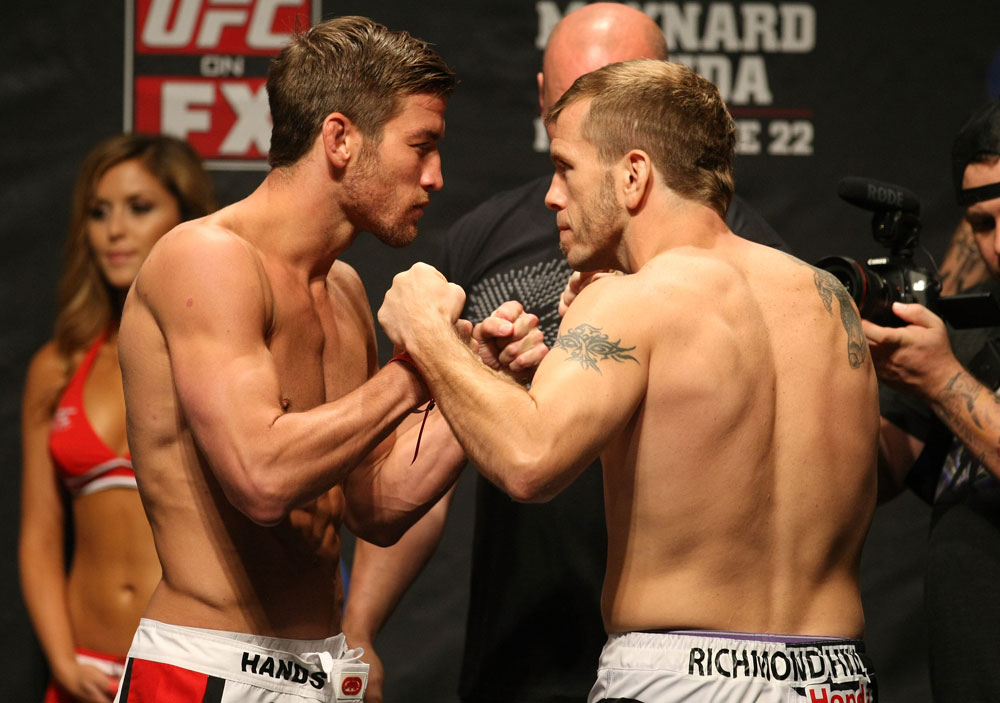 ATLANTIC CITY, NJ - JUNE 21: (L-R) Lightweight opponents Sam Stout and Spencer Fisher face off  during the UFC on FX official weigh in at Revel Casino on June 21, 2012 in Atlantic City, New Jersey.   (Photo by Nick Laham/Zuffa LLC/Zuffa LLC via Getty Images)