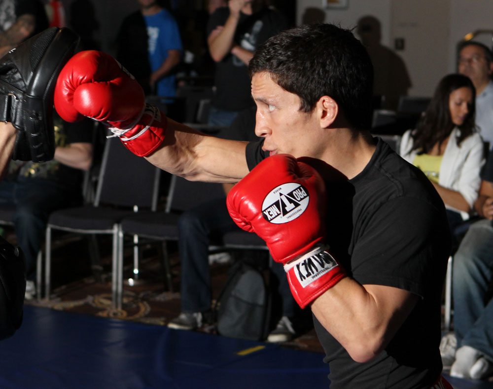 SYDNEY, AUSTRALIA - FEBRUARY 28:  Joseph Benavidez works out for the media during the UFC on FX open workouts at the Star Casino on February 28, 2012 in Sydney, Australia.  (Photo by Josh Hedges/Zuffa LLC/Zuffa LLC via Getty Images) *** Local Caption *** Joseph Benavidez