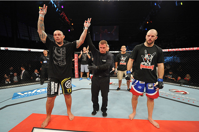 BARUERI, BRAZIL - OCTOBER 9:  (L-R) Thiago Silva celebrates after defeating Matt Hamill in their light heavyweight bout during the UFC Fight Night event at the Ginasio Jose Correa on October 9, 2013 in Barueri, Sao Paulo, Brazil. (Photo by Jeff Bottari/Zuffa LLC/Zuffa LLC via Getty Images)