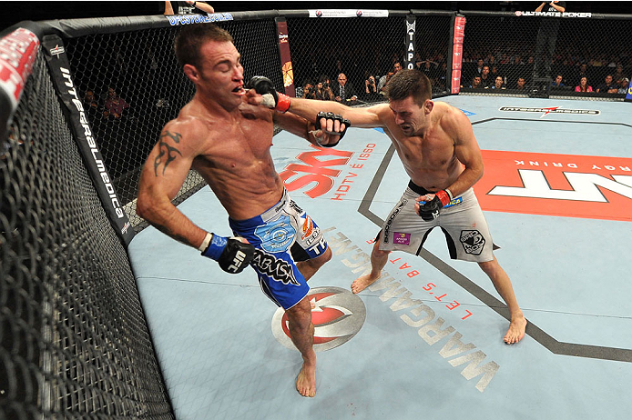 BARUERI, BRAZIL - OCTOBER 9:  (R-L) Demian Maia punches Jake Shields in their welterweight bout during the UFC Fight Night event at the Ginasio Jose Correa on October 9, 2013 in Barueri, Sao Paulo, Brazil. (Photo by Jeff Bottari/Zuffa LLC/Zuffa LLC via Getty Images)