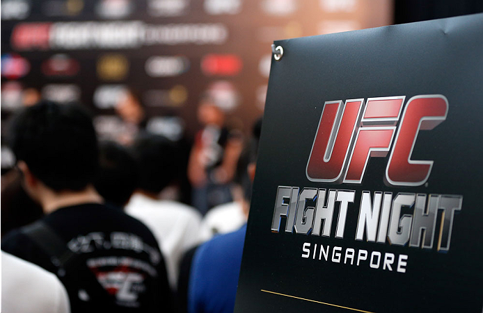 SINGAPORE - JANUARY 03:  Fans look on during the UFC Fight Night Singapore Weigh-in at the Shoppes at Marina Bay Sands on January 3, 2014 in Singapore. (Photo by Josh Hedges/Zuffa LLC/Zuffa LLC via Getty Images)