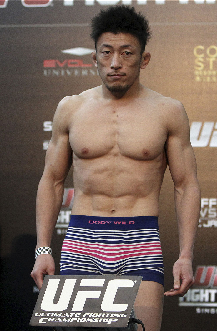 SINGAPORE - JANUARY 03:  Tatsuya Kawajiri during the UFC Fight Night Singapore Weigh-in at the Shoppes at Marina Bay Sands on January 3, 2014 in Singapore. (Photo by Mitch Viquez/Zuffa LLC/Zuffa LLC via Getty Images)