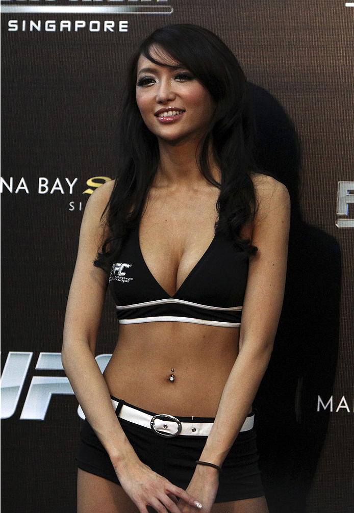SINGAPORE - JANUARY 03:  UFC ring girl, Azusa Nishigaki, during the UFC Fight Night Singapore Weigh-in at the Shoppes at Marina Bay Sands on January 3, 2014 in Singapore. (Photo by Mitch Viquez/Zuffa LLC/Zuffa LLC via Getty Images)