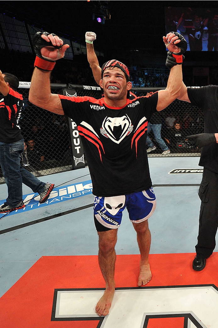 BARUERI, BRAZIL - OCTOBER 9:  Rafael Assuncao celebrates after defeating TJ Dillashaw (not pictured) in their bantamweight bout during the UFC Fight Night event at the Ginasio Jose Correa on October 9, 2013 in Barueri, Sao Paulo, Brazil. (Photo by Jeff Bottari/Zuffa LLC/Zuffa LLC via Getty Images)