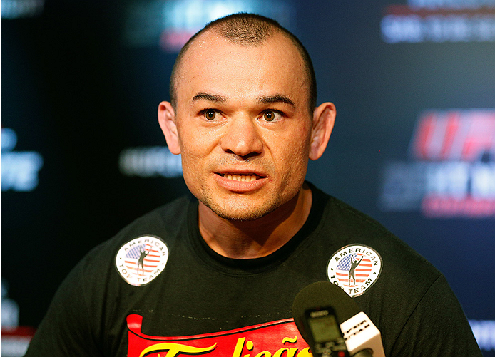 BRASILIA, BRAZIL - SEPTEMBER 11:  Gleison Tibau of Brazil interacts with media after open training session for media at the Brasilia Shopping mall on September 11, 2014 in Brasilia, Brazil. (Photo by Josh Hedges/Zuffa LLC/Zuffa LLC via Getty Images)
