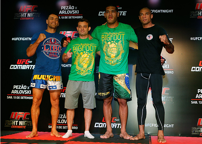 "BRASILIA, BRAZIL - SEPTEMBER 11:  Antonio ""Bigfoot"" Silva (2nd from right) of Brazil holds an open training session for media at the Brasilia Shopping mall on September 11, 2014 in Brasilia, Brazil. (Photo by Josh Hedges/Zuffa LLC/Zuffa LLC via Getty Images)"