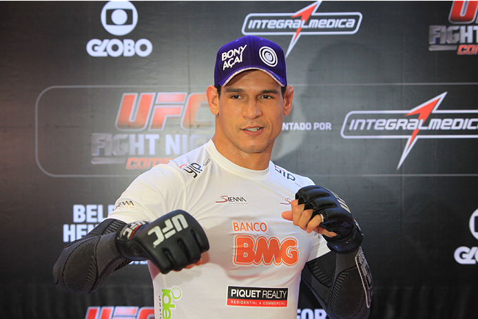 "GOIANIA, BRAZIL - NOVEMBER 7: Cezar ""Mutante""Ferreira attends the UFC Fight Night open workout at Buena Vista Shopping on November 7, 2013 in Goiania, Brazil.  (Photo by Weimer Carvalho/Zuffa LLC/Zuffa LLC via Getty Images)"
