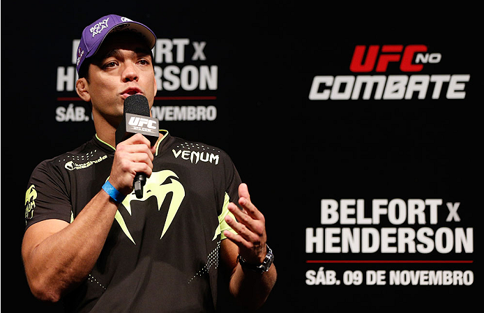 GOIANIA, BRAZIL - NOVEMBER 08:  Lyoto Machida interacts with fans during a Q&A session before the UFC weigh-in event at Arena Goiania on November 8, 2013 in Goiania, Brazil. (Photo by Josh Hedges/Zuffa LLC/Zuffa LLC via Getty Images)