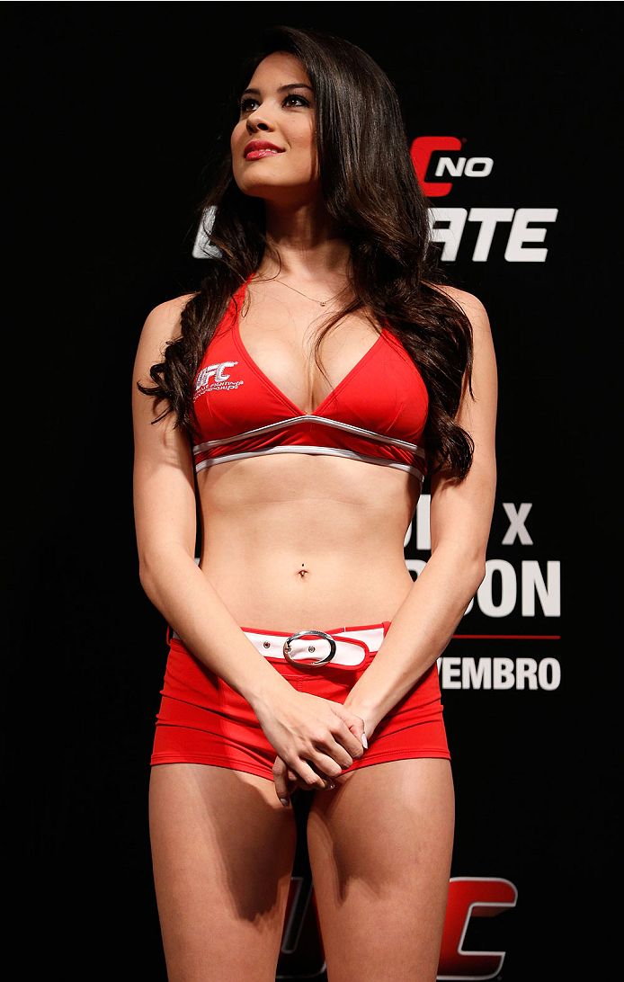 GOIANIA, BRAZIL - NOVEMBER 08:  UFC Octagon Girl Camila Rodrigues de Oliveira stands on stage during the UFC weigh-in event at Arena Goiania on November 8, 2013 in Goiania, Brazil. (Photo by Josh Hedges/Zuffa LLC/Zuffa LLC via Getty Images)