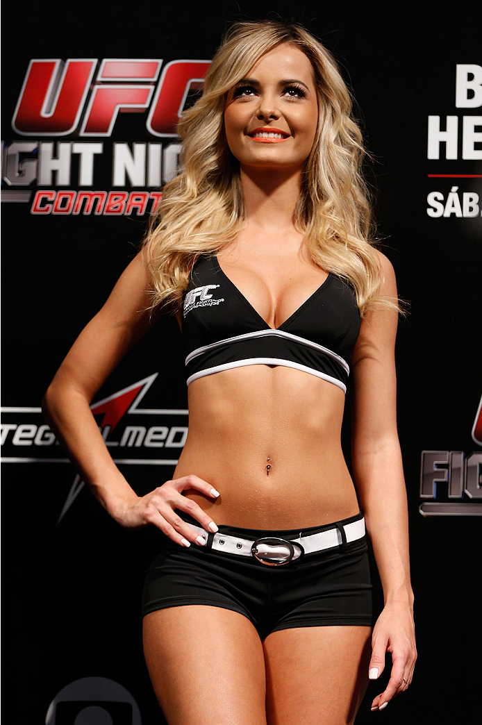 GOIANIA, BRAZIL - NOVEMBER 08:  UFC Octagon Girl Jhenny Andrade stands on stage during the UFC weigh-in event at Arena Goiania on November 8, 2013 in Goiania, Brazil. (Photo by Josh Hedges/Zuffa LLC/Zuffa LLC via Getty Images)