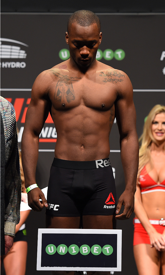 GLASGOW, SCOTLAND - JULY 17:  Leon Edwards of Jamaica steps on the scale during the UFC weigh-in inside the SSE Hydro on July 17, 2015 in Glasgow, Scotland.  (Photo by Josh Hedges/Zuffa LLC/Zuffa LLC via Getty Images)