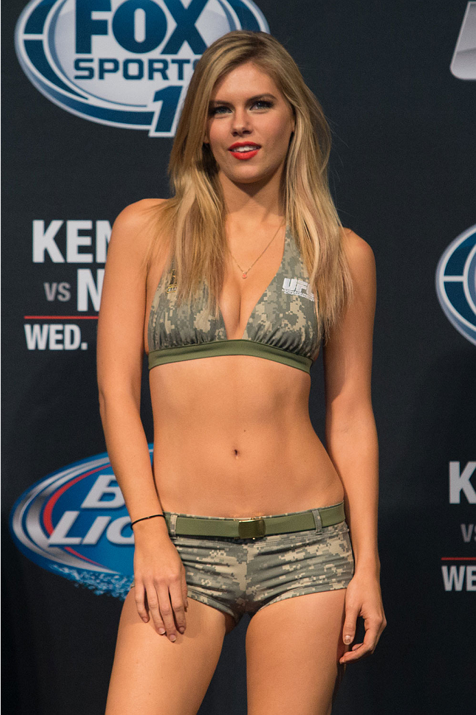 CLARKSVILLE, TN - NOVEMBER 5:  Octagon girl Chrissy Blair during the UFC Fight For the Troops weigh-in at the Fort Campbell Sabre Air Field hanger on November 5, 2013 in Clarksville, Tennessee. (Photo by Ed Mulholland/Zuffa LLC/Zuffa LLC via Getty Images)
