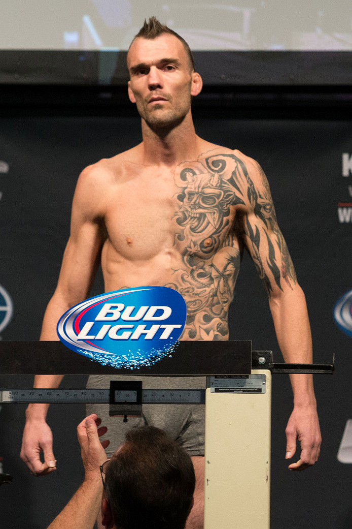 CLARKSVILLE, TN - NOVEMBER 5:  George Roop weighs in during the UFC Fight For the Troops weigh-in at the Fort Campbell Sabre Air Field hanger on November 5, 2013 in Clarksville, Tennessee. (Photo by Ed Mulholland/Zuffa LLC/Zuffa LLC via Getty Images)