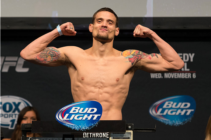 CLARKSVILLE, TN - NOVEMBER 5:  James Krause weighs in during the UFC Fight For the Troops weigh-in at the Fort Campbell Sabre Air Field hanger on November 5, 2013 in Clarksville, Tennessee. (Photo by Ed Mulholland/Zuffa LLC/Zuffa LLC via Getty Images)
