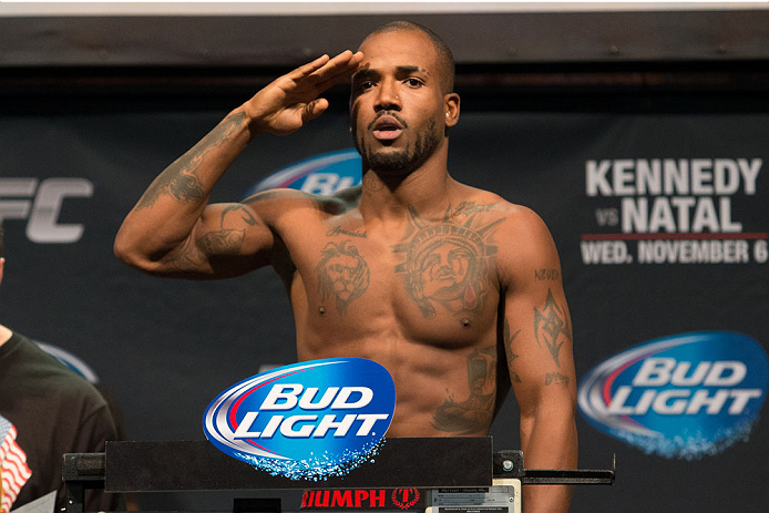 CLARKSVILLE, TN - NOVEMBER 5:  Bobby Green weighs in during the UFC Fight For the Troops weigh-in at the Fort Campbell Sabre Air Field hanger on November 5, 2013 in Clarksville, Tennessee. (Photo by Ed Mulholland/Zuffa LLC/Zuffa LLC via Getty Images)