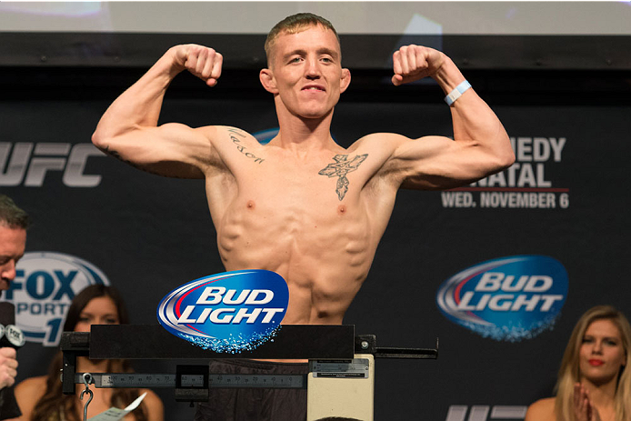 CLARKSVILLE, TN - NOVEMBER 5:  Colton Smith weighs in during the UFC Fight For the Troops weigh-in at the Fort Campbell Sabre Air Field hanger on November 5, 2013 in Clarksville, Tennessee. (Photo by Ed Mulholland/Zuffa LLC/Zuffa LLC via Getty Images)