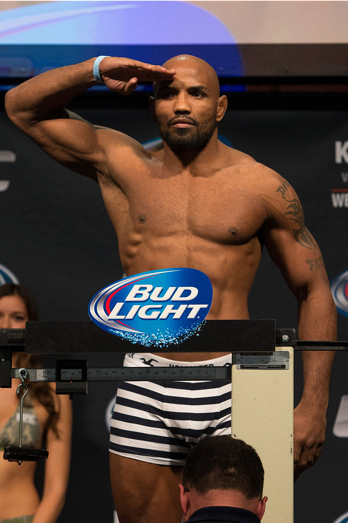 CLARKSVILLE, TN - NOVEMBER 5:  Yoel Romero weighs in during the UFC Fight For the Troops weigh-in at the Fort Campbell Sabre Air Field hanger on November 5, 2013 in Clarksville, Tennessee. (Photo by Ed Mulholland/Zuffa LLC/Zuffa LLC via Getty Images)