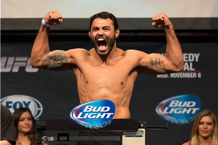 CLARKSVILLE, TN - NOVEMBER 5:  Rafael Natal weighs in during the UFC Fight For the Troops weigh-in at the Fort Campbell Sabre Air Field hanger on November 5, 2013 in Clarksville, Tennessee. (Photo by Ed Mulholland/Zuffa LLC/Zuffa LLC via Getty Images)