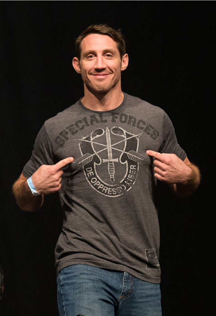 CLARKSVILLE, TN - NOVEMBER 5:  Tim Kennedy weighs in during the UFC Fight For the Troops weigh-in at the Fort Campbell Sabre Air Field hanger on November 5, 2013 in Clarksville, Tennessee. (Photo by Ed Mulholland/Zuffa LLC/Zuffa LLC via Getty Images)