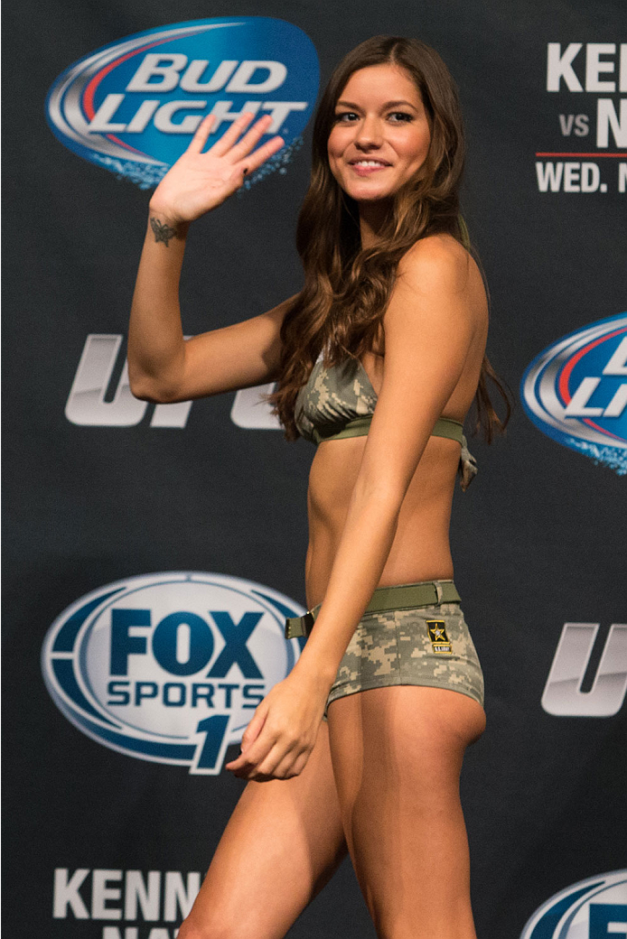 CLARKSVILLE, TN - NOVEMBER 5:  Octagon girl Vanessa Hanson during the UFC Fight For the Troops weigh-in at the Fort Campbell Sabre Air Field hanger on November 5, 2013 in Clarksville, Tennessee. (Photo by Ed Mulholland/Zuffa LLC/Zuffa LLC via Getty Images)