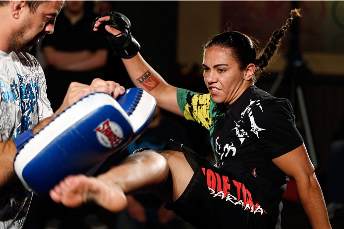 MANCHESTER, ENGLAND - OCTOBER 23:  Jessica Andrade holds an open training session for media inside Shooterâs Sports Bar on October 23, 2013 in Manchester, England. (Photo by Josh Hedges/Zuffa LLC/Zuffa LLC via Getty Images)