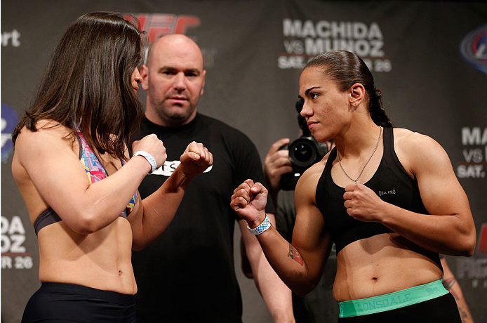 MANCHESTER, ENGLAND - OCTOBER 25:  (L-R) Opponents Rosi Sexton and Jessica Andrade face off during the UFC weigh-in event at Manchester Central on October 25, 2013 in Manchester, England. (Photo by Josh Hedges/Zuffa LLC/Zuffa LLC via Getty Images)