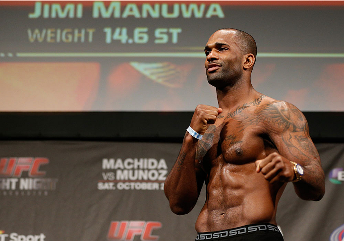 MANCHESTER, ENGLAND - OCTOBER 25:  Jimi Manuwa weighs in during the UFC weigh-in event at Manchester Central on October 25, 2013 in Manchester, England. (Photo by Josh Hedges/Zuffa LLC/Zuffa LLC via Getty Images)