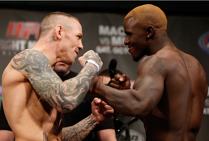 MANCHESTER, ENGLAND - OCTOBER 25:  (L-R) Opponents Ross Pearson and Melvin Guillard face off during the UFC weigh-in event at Manchester Central on October 25, 2013 in Manchester, England. (Photo by Josh Hedges/Zuffa LLC/Zuffa LLC via Getty Images)