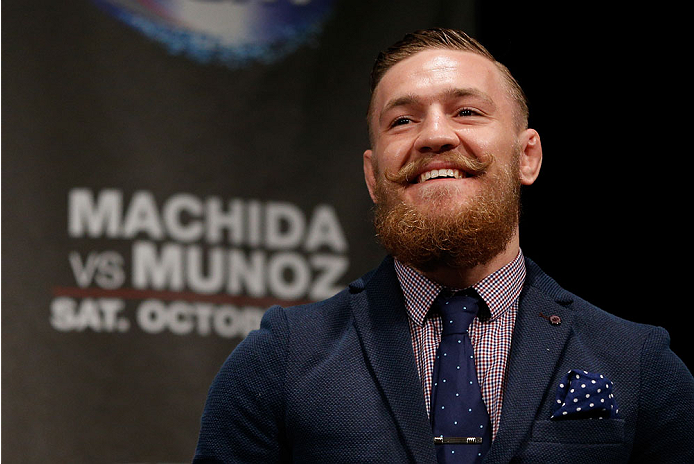 MANCHESTER, ENGLAND - OCTOBER 25:  Conor McGregor interacts with fans during a Q&A session before the UFC weigh-in event at Manchester Central on October 25, 2013 in Manchester, England. (Photo by Josh Hedges/Zuffa LLC/Zuffa LLC via Getty Images)