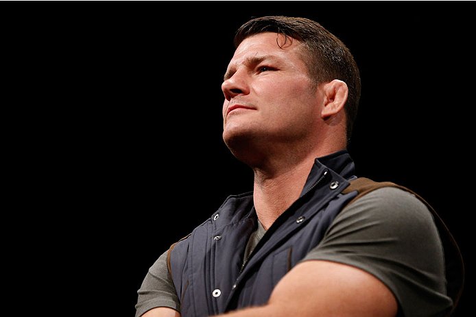 MANCHESTER, ENGLAND - OCTOBER 25:  Michael Bisping interacts with fans during a Q&A session before the UFC weigh-in event at Manchester Central on October 25, 2013 in Manchester, England. (Photo by Josh Hedges/Zuffa LLC/Zuffa LLC via Getty Images)