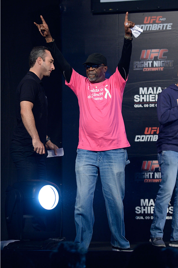 BARUERI, BRAZIL - OCTOBER 8:  UFC event coordinator Burt Watson stands on stage during the UFC Fight Night: Maia v Shields weigh-in at the Ginasio Jose Correa on October 8, 2013 in Barueri, Sao Paulo, Brazil. (Photo by Jeff Bottari/Zuffa LLC/Zuffa LLC via Getty Images)