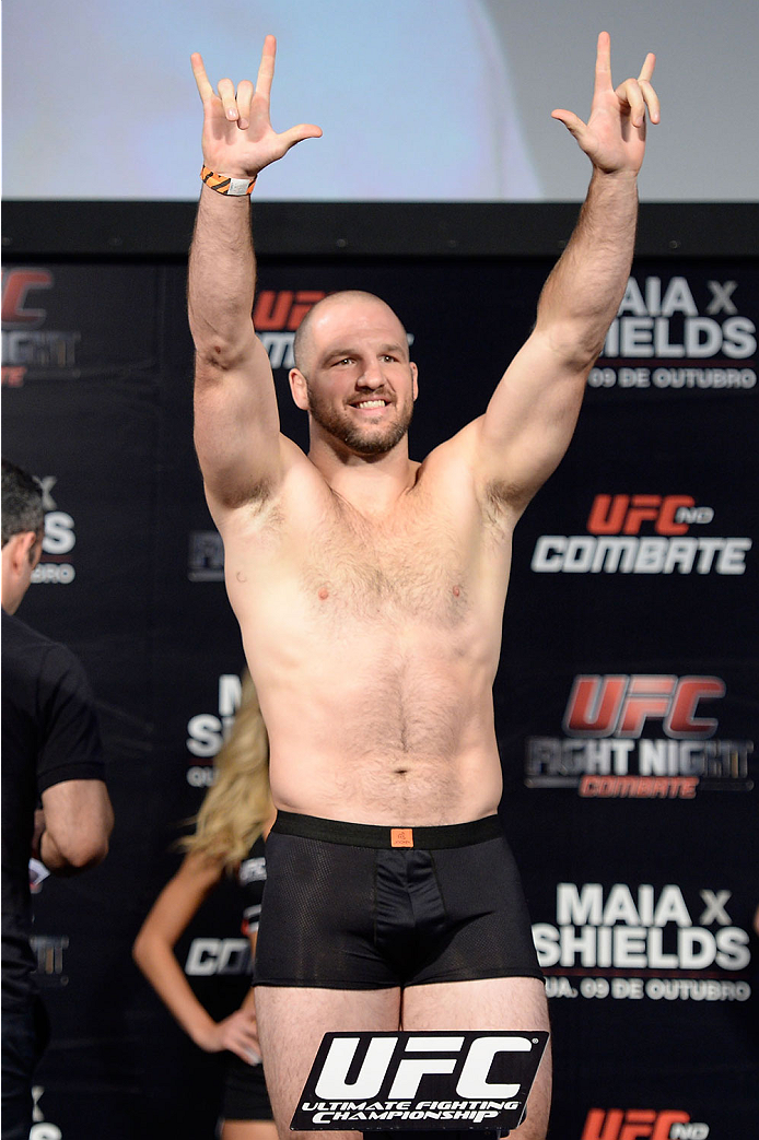 BARUERI, BRAZIL - OCTOBER 8:  Matt Hamill weighs-in during the UFC Fight Night: Maia v Shields weigh-in at the Ginasio Jose Correa on October 8, 2013 in Barueri, Sao Paulo, Brazil. (Photo by Jeff Bottari/Zuffa LLC/Zuffa LLC via Getty Images)