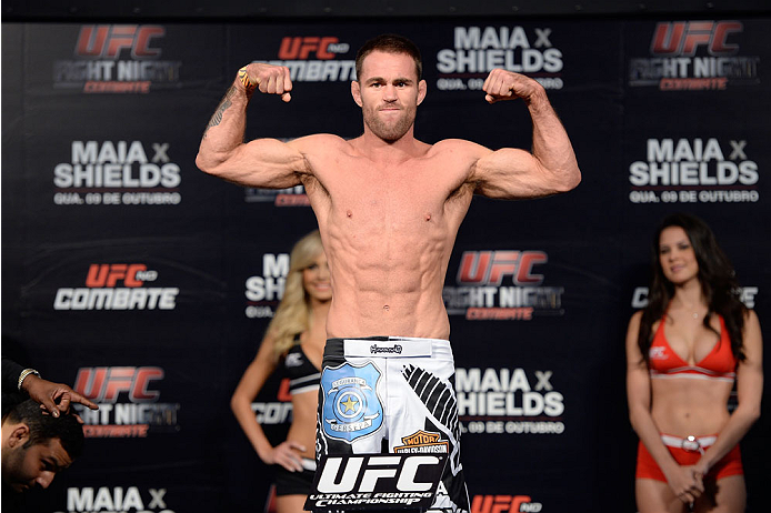 BARUERI, BRAZIL - OCTOBER 8:  Jake Shields weighs-in during the UFC Fight Night: Maia v Shields weigh-in at the Ginasio Jose Correa on October 8, 2013 in Barueri, Sao Paulo, Brazil. (Photo by Jeff Bottari/Zuffa LLC/Zuffa LLC via Getty Images)