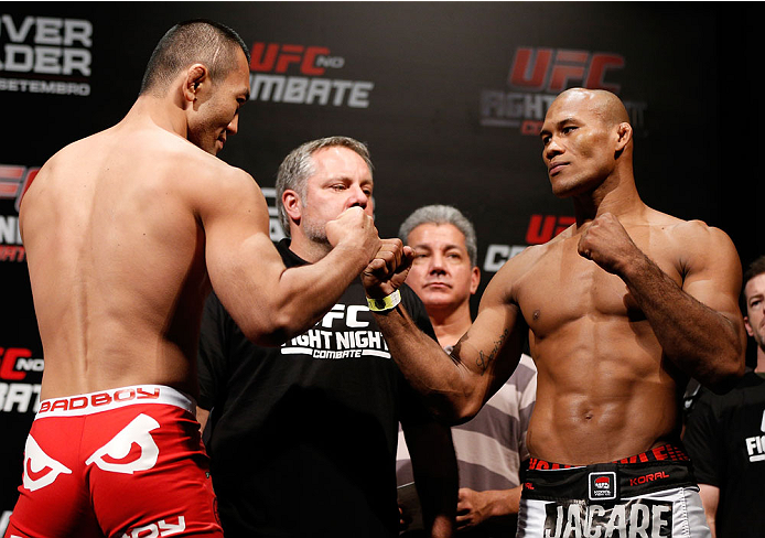 "BELO HORIZONTE, BRAZIL - SEPTEMBER 03:  (L-R) Opponents Yushin Okami and Ronaldo ""Jacare"" Souza face off during the UFC weigh-in event at Mineirinho Arena on September 3, 2013 in Belo Horizonte, Brazil. (Photo by Josh Hedges/Zuffa LLC/Zuffa LLC via Getty Images)"