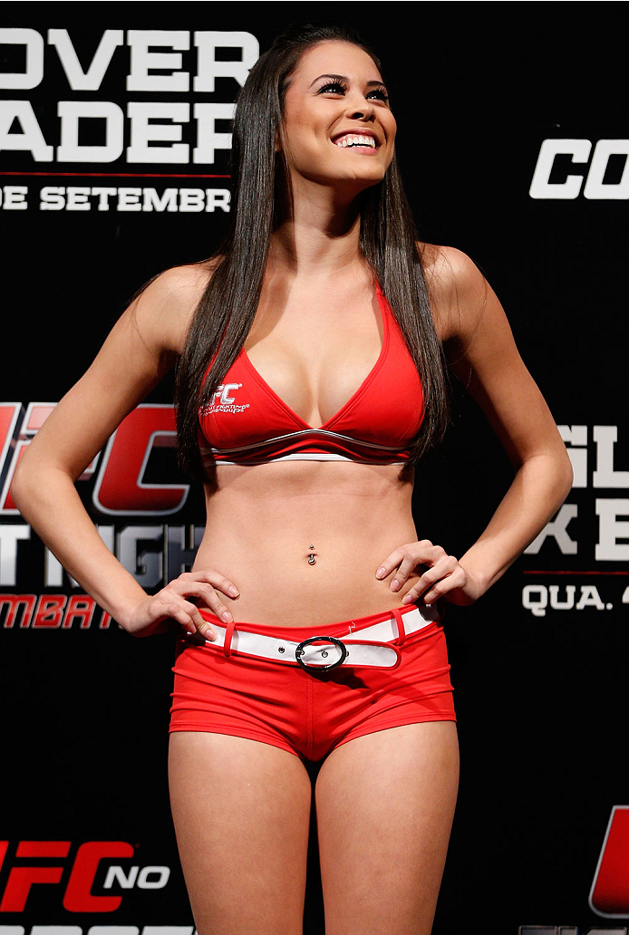 BELO HORIZONTE, BRAZIL - SEPTEMBER 03:  UFC Octagon Girl Camila Rodrigues de Oliveira stands on stage during the UFC weigh-in event at Mineirinho Arena on September 3, 2013 in Belo Horizonte, Brazil. (Photo by Josh Hedges/Zuffa LLC/Zuffa LLC via Getty Images)