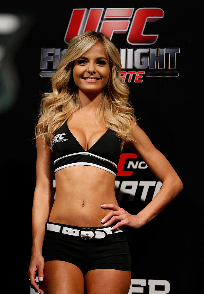 BELO HORIZONTE, BRAZIL - SEPTEMBER 03:  UFC Octagon Girl Jhenny Andrade stands on stage during the UFC weigh-in event at Mineirinho Arena on September 3, 2013 in Belo Horizonte, Brazil. (Photo by Josh Hedges/Zuffa LLC/Zuffa LLC via Getty Images)