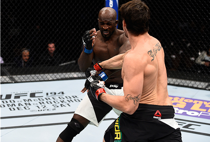 LAS VEGAS, NEVADA - DECEMBER 10:  (R) Antonio Carlos Junior punches Kevin Casey in their middleweight bout during the UFC Fight Night event at The Chelsea at the Cosmopolitan of Las Vegas on December 10, 2015 in Las Vegas, Nevada.  (Photo by Jeff Bottari/Zuffa LLC/Zuffa LLC via Getty Images)