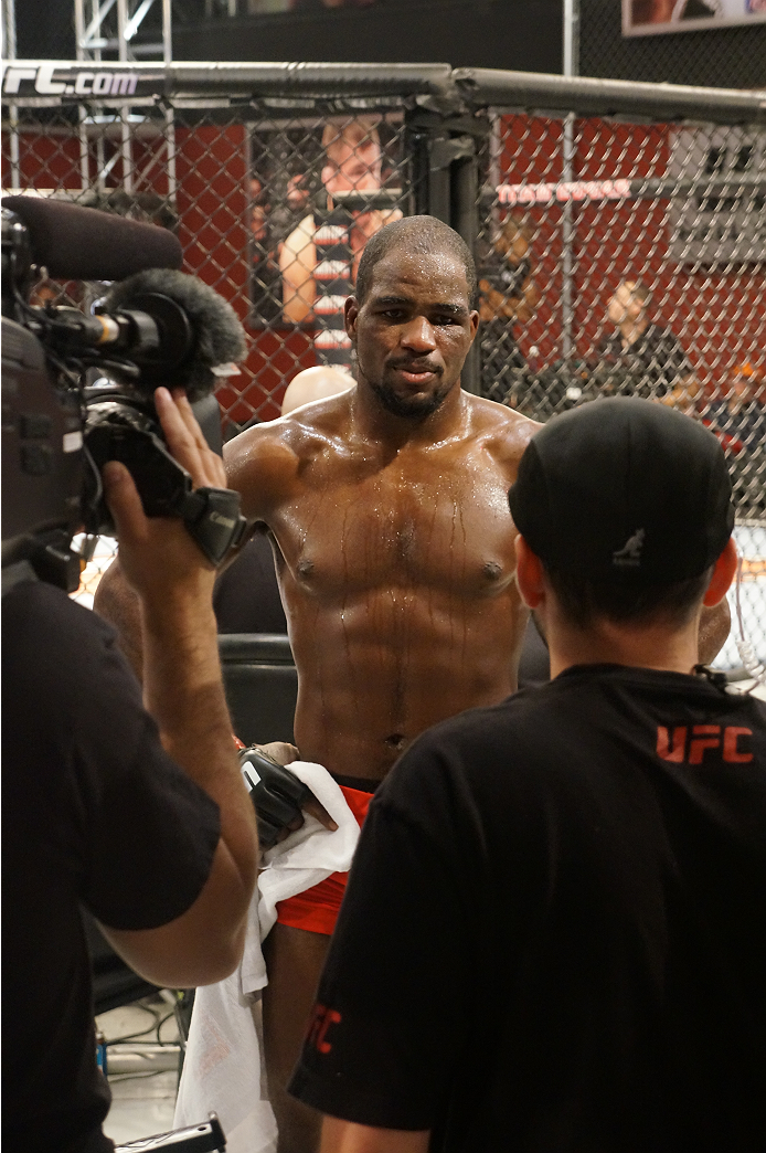 Corey Anderson conducts his post-fight interview with the crew.