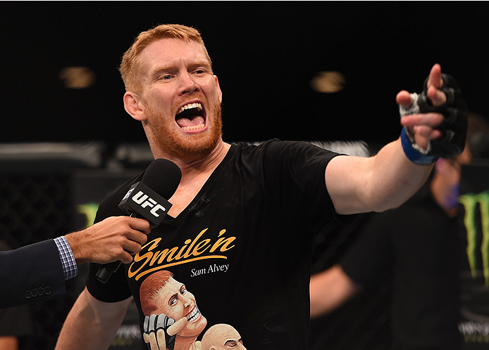 ADELAIDE, AUSTRALIA - MAY 10: <a href='../fighter/Sam-Alvey'>Sam Alvey</a> celebrates his knock out victory over Daniel Kelly in their middleweight bout during the UFC Fight Night event at the Adelaide Entertainment Centre on May 10, 2015 in Adelaide, Australia. (Photo by Josh Hedges/Zuffa LLC/Zuffa LLC via Getty Images)