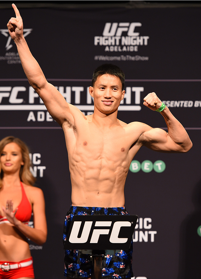 ADELAIDE, AUSTRALIA - MAY 09:   Ben Nguyen of the United States weighs in during the UFC weigh-in event at the Adelaide Entertainment Centre on May 9, 2015 in Adelaide, Australia. (Photo by Josh Hedges/Zuffa LLC/Zuffa LLC via Getty Images)
