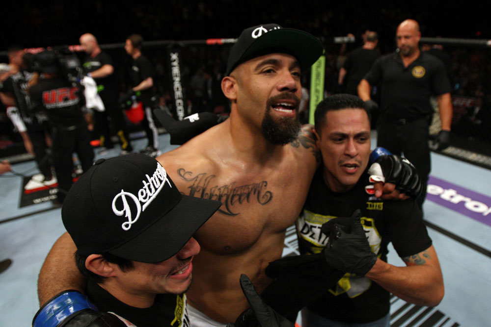 EAST RUTHERFORD, NJ - MAY 05:  Lavar Johnson celebrates after defeating Pat Barry in thier Heavyweight bout at Izod Center on May 5, 2012 in East Rutherford, New Jersey.  (Photo by Josh Hedges/Zuffa LLC/Zuffa LLC via Getty Images)